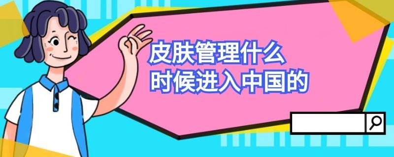 皮肤管理什么时候进入中国的插图